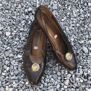 YSL Vintage Bronze Italian Leather Flats 6